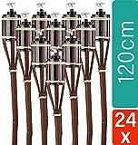 STAR - LINE 24 Fackeln Gartenfackeln 120 cm Braun Umweltfreundlich - Lange Brenndauer - Nachfüllbare Ölfackel Set