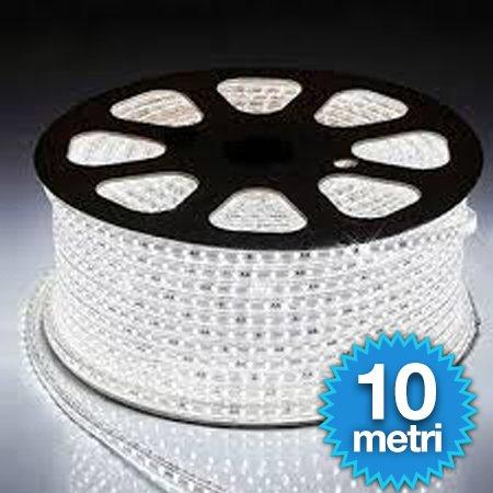 STRISCIA LED FLESSIBILE STRIP LED 5050 INTERNO ESTERNO 220V BOBINA DA 10 METRI