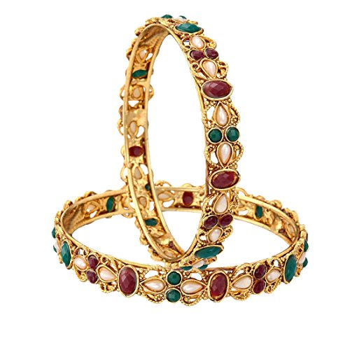 Zeneme Kundan Polki Red & Green Gold Plated Bangles Jewellery for Women / Girls (2.4)  available at amazon for Rs.99