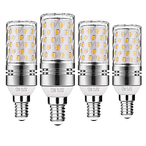 Gezee LED Silber Mais Glühbirnen E14 12W 100W Entspricht Glühbirnen Nicht dimmbar 3000K Warmweiß 1200lm Kleine Edison-Schraube Kerze Leuchtmittel (4er-Pack)