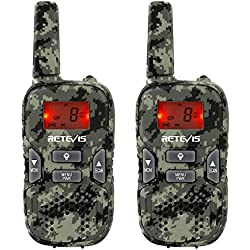 Retevis RT33 Walkie Talkie Niños Recargable con Cable USB PMR 446 121 CTCSS/DCS LED Linterna Incorporada LCD Pantalla Retroiluminación VOX Scan 10 Tonos de Llamada(Camuflaje, 1 par)