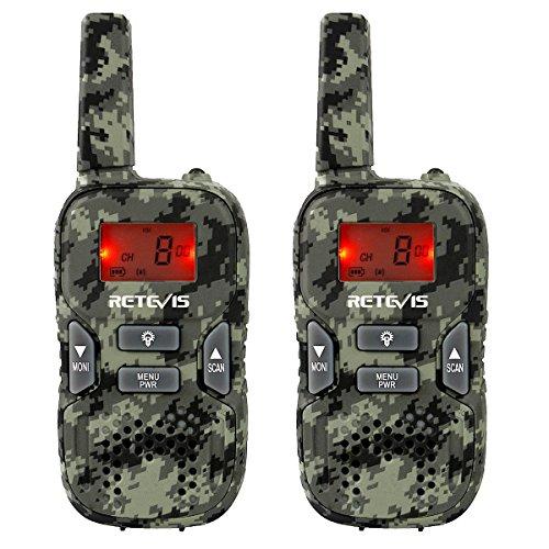 Retevis RT33 Walkie Talkie Niños PMR 446 8 Canales LED Linterna Incorporada LCD Pantalla Retroiluminación VOX Scan 10 Tonos de Llamada(Camuflaje, 1 par)