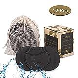 Lyihlou Abschminkpads 10CM waschbar Gesichtsreinigungspads wiederverwendbar Make Up Entferner Pads mit Wäschebeutel aus 100% Baumwolle- 12pcs