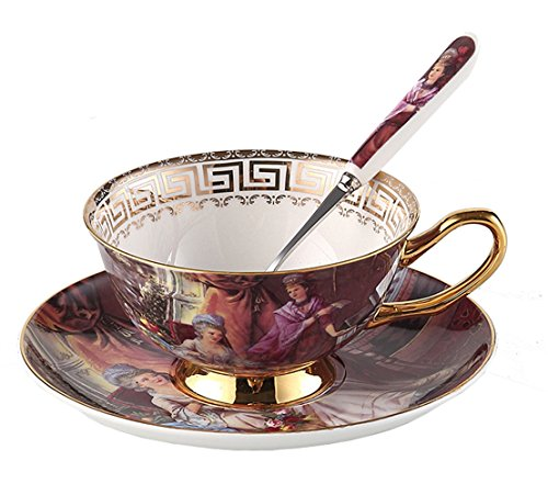Porzellan Keramik Ölgemälde Abbildung Tee-Tasse Kaffeetasse, Rosa Und Braun