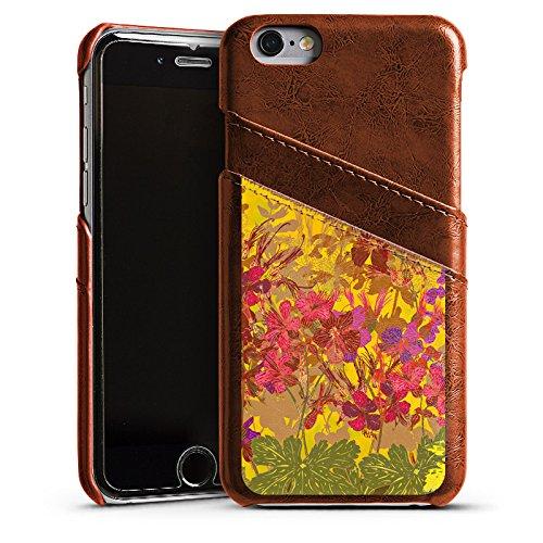 Apple iPhone SE Housse Outdoor Étui militaire Coque Ensoleillé Fleurs Fleurs Étui en cuir marron