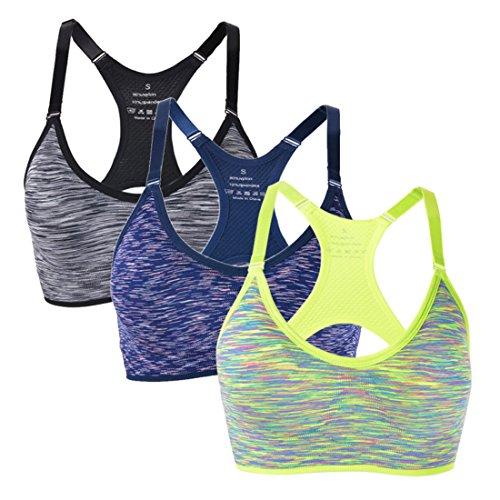 Vertvie Pack Handsome Komfort Damen Leichter Halt Gepolsterter Push up Ohne Bügel Sport BH Bustier für Yoga Fitness-Training (Schwarz+blau+grün, EU XS/Label S) (Pack Sport-bh 38c)