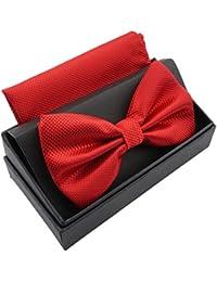 Massi Morino Papillon con fazzoletto in confezione regalo, papillon - set in diversi colori in microfibra, fiocco regolabile con fazzoletto coordinato (Rosso)