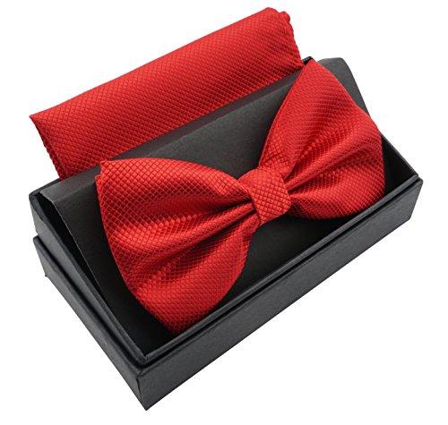 Massi Morino ® Herrenfliegen Set mit Tuch in Rot Männer Anzug Schleife Krawattenfliege bowtie rote rotfarben hellrot rotefliege red feuerrot kaminrot - Flug Anzug Kostüm Männer