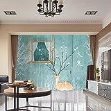 RLF LF Vorhang Verdunkelungs-Fenstervorhang 3D-Digitaldruck Fenster Deal Mit Isolierung Wohnzimmer Drape Panel Durch RLF.LF,Green,200Cm*250Cm