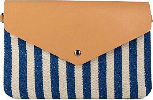 styleBREAKER Envelope Clutch im maritimen Streifen Look mit Fischgrät Muster, Umhängetasche, Tasche, Damen 02012153, Farbe:Blau-Beige (Messenger Leder Bag Fold)