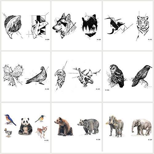 KAMRL Temporäre Tattoo-Aufkleber 9 Teile / Los Wolf Snake Fake Tattoo Wasserdicht Temporäre Arm Vögel Tattoo Aufkleber Für Frauen Männer Art Tattoos