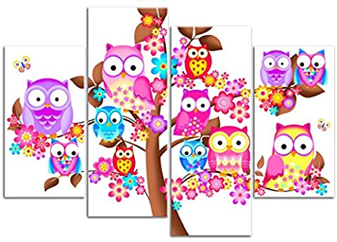 Tree with Owl, Flowers & Butterflies - 4 Panels - Childrens Girls Canvas Wall Art Print Picture - Framed and Ready to Hang - Overall Size 104cm x 69cm - Please Choose your Background Colour from the Selection Boxes- by Rubybloom Designs