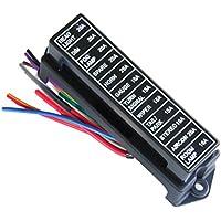 Soporte de fusibles de 12 vías estándar para placa de fusibles de circuito con alambre de 15 cm para coche, barco, barco o camión (fusible no incluido)