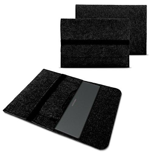 NAUC Tasche Hülle für Medion Akoya E2216T E2228T Filz Sleeve Schutzhülle Laptop Case Cover Notebook Bag aus strapazierfähigem Filz in dunkel Grau mit Innentaschen und sicheren Verschluss