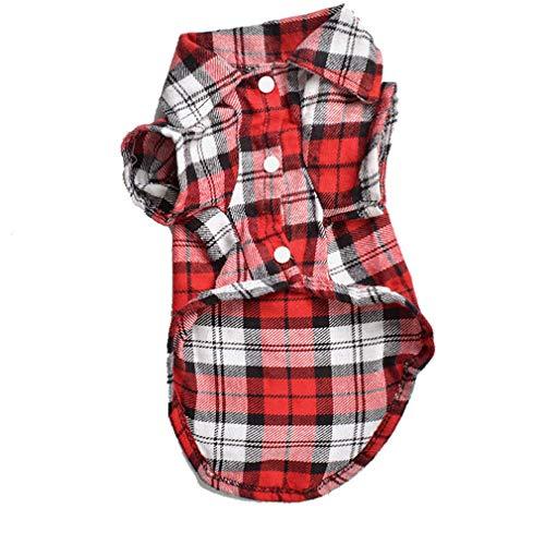 Tan Plaid Shirt (EULSV Plaid Hunde Shirts T Shirt Sommer Haustier Katze Outfit Welpen Kleidung für kleine Hunde Möpse Chihuahua Kleidung Red M)