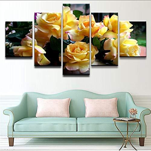 Wiwhy Spray-Malerei Druckt Bilder Für Wohnzimmer-Wand-Kunst-Rahmen 5 Teile/Set Gelbe Rose Blume Poster Gemälde,20X35/45/55Cm - Poster Set Teile