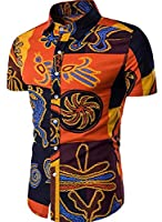 Tootlessly Men's Casual Short-Sleeve Slim Ethnic Style Work Shirts XL 1