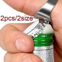 Acero inoxidable Anillo de dedo abridor de botella de cerveza bebida 2pcs Set en Hotsale 2tamaños