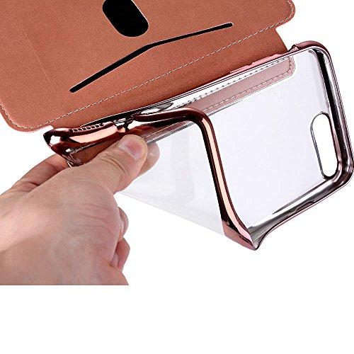 Sycode Custodia per iPhone 6S Plus 5.5,Silicone Cover per iPhone 6 Plus 5.5,Specchio Flip Custodia per iPhone 6S Plus 5.5,Lusso Oro a Libro Galvanotecnica Silicone Cristallo Trasparente Ultra Sotti Glitter,Nero