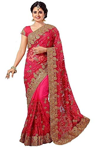Lajree Designer sarees Women\'s Pink Net Heavy Party Wear Embroidery saree for women(Zohari pinkLatest Saree)