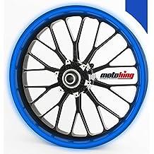 """Adhesivos Motoking para llantas 360 °, 4 mm de ancho, reflectante de color azul oscuro/rueda completa/desde 15"""" hasta 18""""/color y ancho opcionales"""