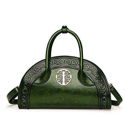 Neue Art Und Weise Handschalen Tasche Damentasche Nationale Wind Schulter Messenger Bag,Green-OneSize