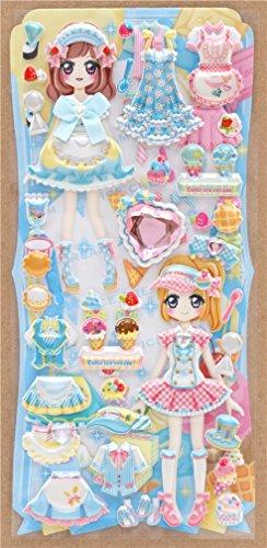 Crux Pegatinas esponjosas de Colores con muñecas para Vestir, Vestidos Blancos, Rosas y Azules, etc.