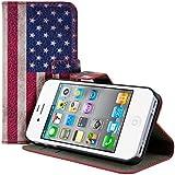kwmobile Hülle für Apple iPhone 4 / 4S - Wallet Case Handy Schutzhülle Kunstleder - Handycover Klapphülle mit Kartenfach und Ständer Flagge USA Design Blau Weiß Rot