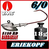 Pilkmaxx VMC Jigkopfhaken Jigkopf Eriekopf 6/0 18g Jighaken 5 Stück im Set für Gummifische