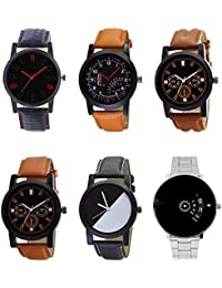 NEUTRON New Style Black Blue And Brown Color 6 Watch Combo (B28-B29-B30-B31-B32-B81) For Boys And Men