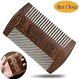 Peigne à barbe,fait à la main en bois de santal naturel, peigne à barbe, peigne à...