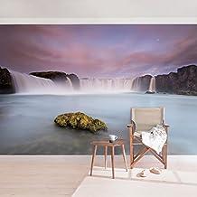 Bilderwelten Fotomural - Goðafoss y la Luna - Mural apaisado papel pintado fotomurales murales pared papel para pared foto 3D mural pared barato decorativo, Tamaño: 190cm x 288cm