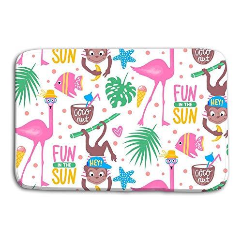 Lea Hirsch (Tyuyui Doormat Indoor Outdoor Vector Cartoon Seamless Pattern pink Flamingo Tropical lea Vector Cartoon Seamless Pattern pink Flamingo Tropical Leaves mat)