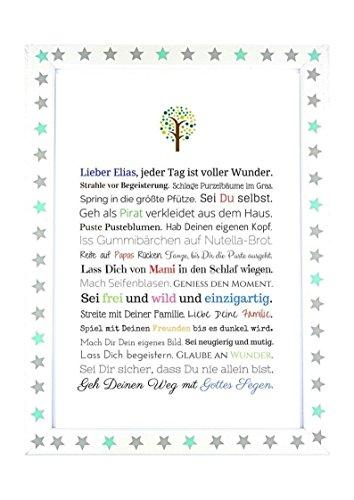Taufgeschenk Junge | Personalisiertes Bild als Geschenk zur Taufe für Kinder und Babies in DIN A4 - Ideal als Gastgeschenk von Taufpaten - 5