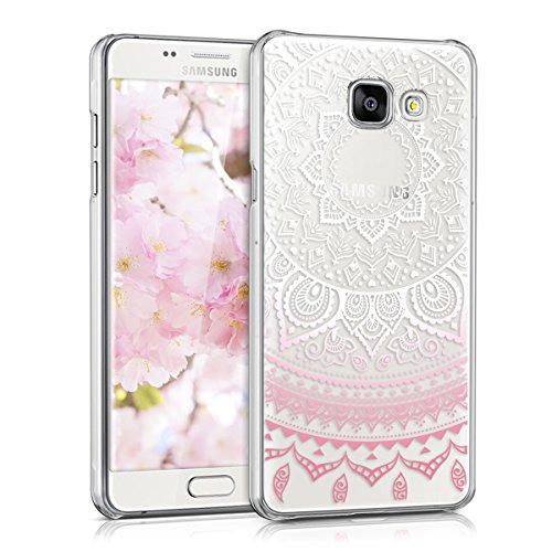 kwmobile Crystal Case Hülle für Samsung Galaxy A5 (2016) - Backcover aus Kunststoff für Handy mit Indische Sonne Design - Schutzhülle klar in Rosa Weiß Transparent