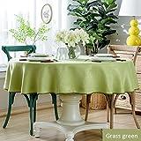 Nclon Reine Farbe Tischdecke,Hotel Velvet Hanf Esstisch Antifouling Quadratische Runden Tischtuch Tischwäsche Weich Atmungsaktive Zarten-grün Durchmesser 160cm