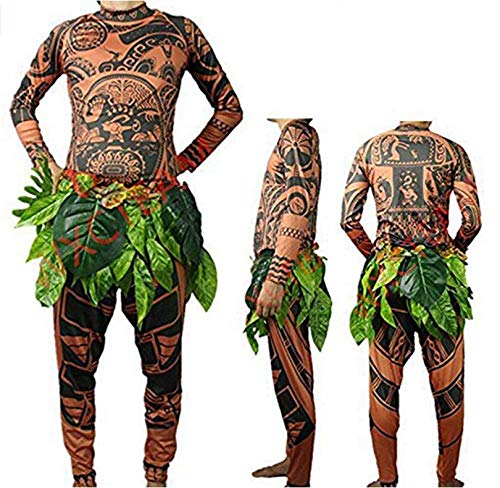 Maui Tattoo T-Shirt/Hose, Halloween, Erwachsene, Herren, Damen, Cosplay-Kostüm mit Blätterrock Vater (Halloween T Shirts Für Erwachsene)