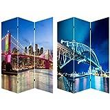 Biombo Nueva York-Sidney, puentes Brooklyn y Harbour Bridge, fotoimpresión montado sobre bastidores de madera