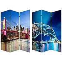 Home Line Biombo York-Sidney, Puentes Brooklyn y Harbour Bridge, fotoimpresión montado Sobre bastidores de Madera - Muebles de Dormitorio precios