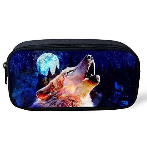 coloranimal Cool Wolf Muster Kinder groß Federmäppchen Pen Pouch Schule Office Supplies...