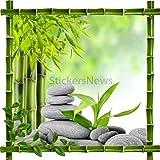 StickersNews Adhesivo Decorativo Adhesivo Marco Bambú Piedras y bambú Zen 7220, 30 x 30 cm