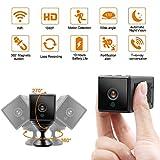Caméra cachée WiFi LXMIMI 10 Heures Batterie Caméra Espion 1080P Caméra IP avec Vision Nocturne Automatique/Audio Bidirectionnel/Grand Angle Amélioré/Alerte Fortification pour Intérieur et Extérieur