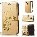Linvei Schutzhülle für Huawei Nova Plus (5,5 Zoll) ,Bronzing Schmetterling Blume / PU Leder Wallet Case Flip Cover Hülle Tasche Schutzhülle mit Karteneinschub und Ständerfunktion - Gold