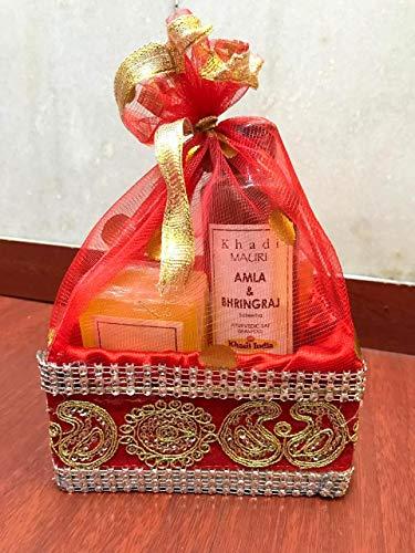 Khadi Mauri Herbal Diwali Gift Set - Amla Bhringraj Shampoo 210 ml & Aloe Vera Gel 100 g + 2 Assorted Soaps (125 g Each)