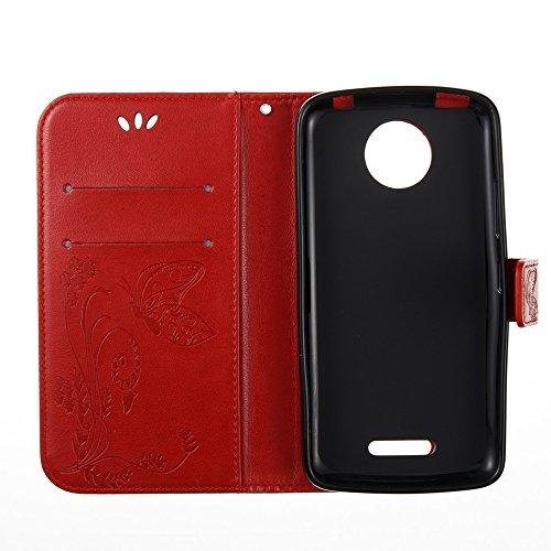 Solid Color Faux Leder Bookstyle Brieftasche Stand Case mit geprägten Blumen & Lanyard & Card Slots für MOTO C Plus ( Color : Blue ) Red