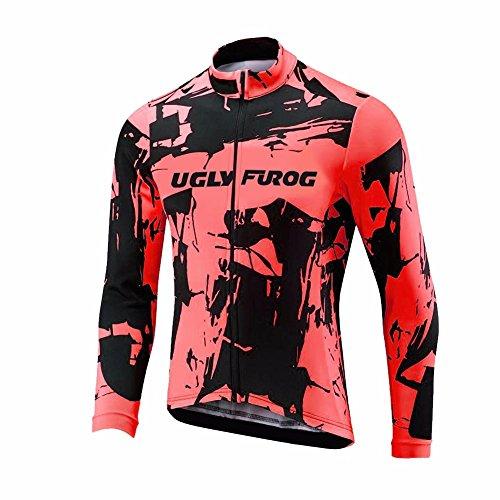 Uglyfrog HDZRMJ02 Radsport Trikots Lange Ärmel Sport & Freizeit Shirts Cycling Jersey Breathable Winter with Fleece Warm Style Fahrradbekleidung Thermisches Fahrradtrikot -