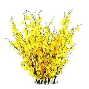 TYEERDEC Flores Orquídea Artificiales 12 Ramas Flores Oncidium de Danza Dama Artificial de La Seda para El Hogar de La…