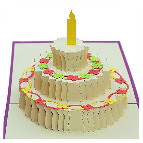 Biglietto 3d – torta di compleanno gigante – biglietto di auguri popup, biglietto di auguri di compleanno, festa di compleanno, decorazione per la famiglia e gli amici.