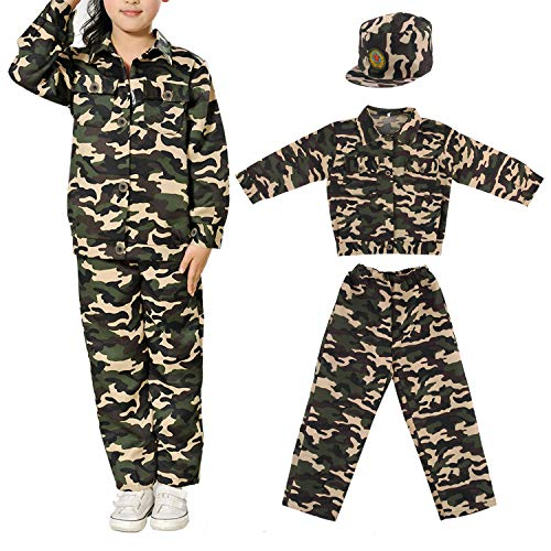 m Kinder Armee Anzug Suit Tarnuniform Kostüm Halloween Uniform Cosplay von Discoball ()