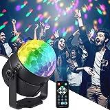 Moukey Luci Discoteca LED Luce Palla Discoteca Stroboscopiche con 7 modalità di illuminazione Suono attivato Controllo di Telecomando per Feste Bar Club Karaoke Bambini